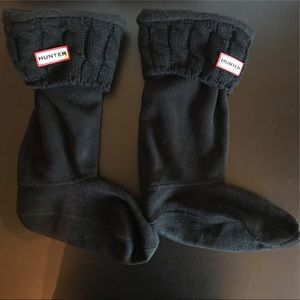 Hunter Black Fleece Knit Cuff Boot Liners M